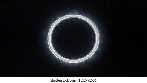 Silver Metal Ring with Smoke Trail on Black Background.
