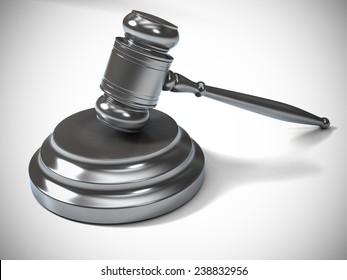 A Silver Metallic Judge Gavel and Soundboard Isolated on White Background. Perspective View.