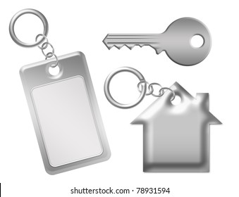 silver metallic key with key  isolated over white background