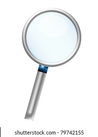 silver metallic magnifying glass isolated over white background