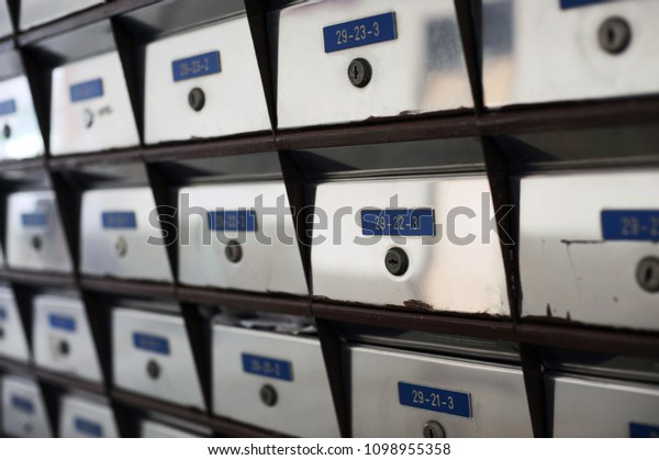 Silver Metallic Mailbox Array Tidy Under Stock Image ...