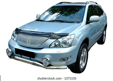 Silver metallic modern car isolated