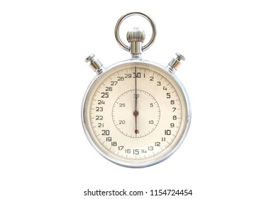 Silver metallic stopwatch isolated on white background