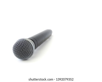 Silver microphone isolated and white background. Speaker and singing concept.