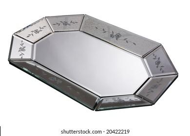 silver mirror tray (lot)