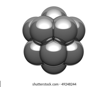 Silver model of the atomic kernel. There is a clipping path