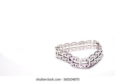Silver Modern Bracelet On White Background