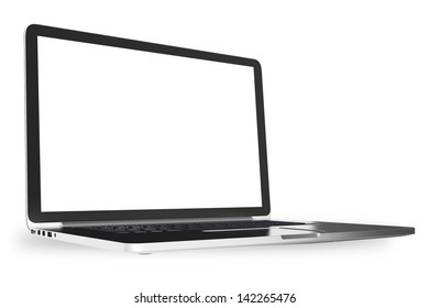 Silver Modern Laptop Computer Isolated on White - Angle 3D Render.  White Blank Screen - Display. Computer Technology 3D Render Illustration.