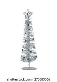 Silver modern wire Christmas tree isolated on white background