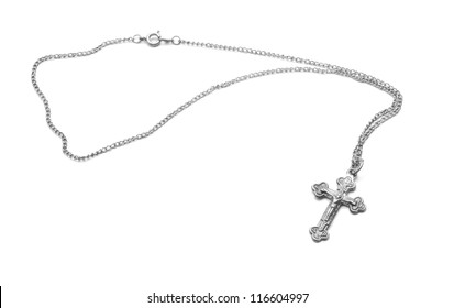 silver necklace with cross
