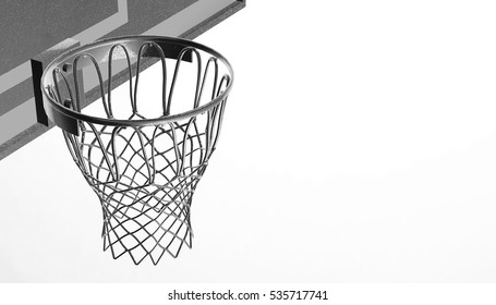 Silver net of a basketball hoop on various material and background, 3d render