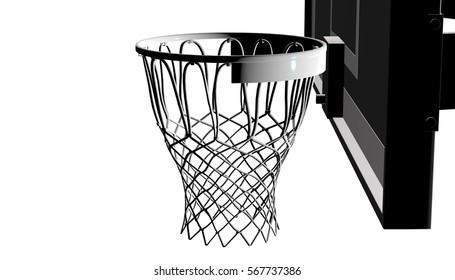 Silver net of a basketball hoop on background, 3d render