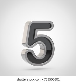 Silver number 5. 3D render of black font with silver outline isolated on white background.