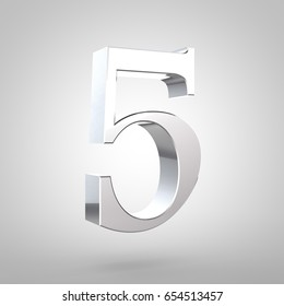 Silver number 5. 3D rendering serif font with tiny fillet and light reflection isolated on white background.