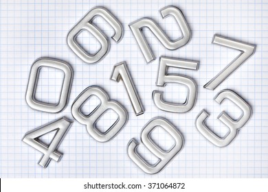 Silver numbers isolated on white background