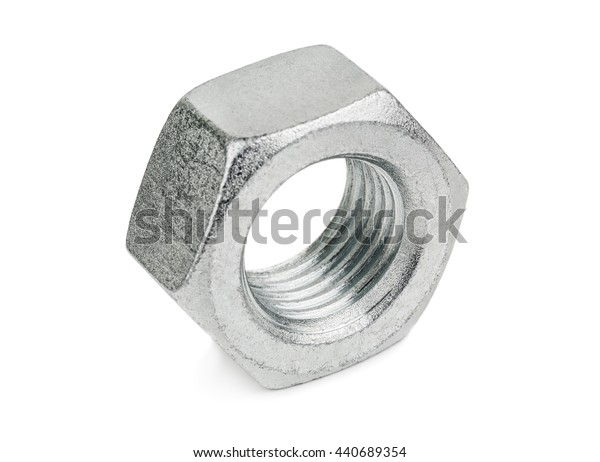 silver nut on white background
