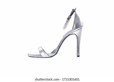 Silver one high heel isolated on white background