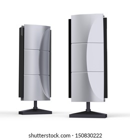 silver outdoor pylon sign  or info stand. 3d render