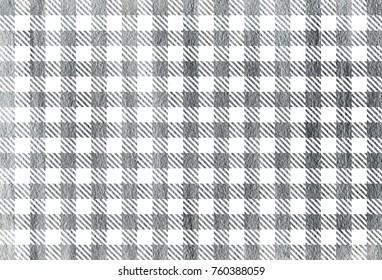 Silver painted checked pattern. Geometrical traditional ornament for fashion textile, cloth, backgrounds.