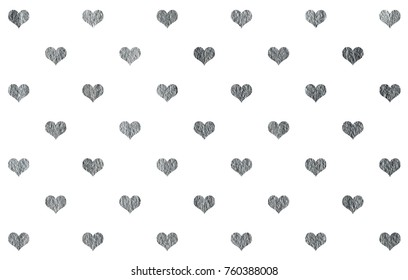 Silver painted hearts pattern. Silver shining texture. Silver paint