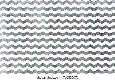 Silver painted wavy striped pattern. Silver shining texture. Silver paint