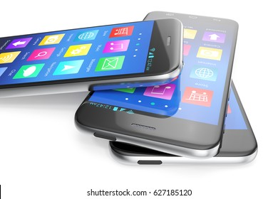A silver phone width a blue screen and icons, isolated on white background, 3d illustration