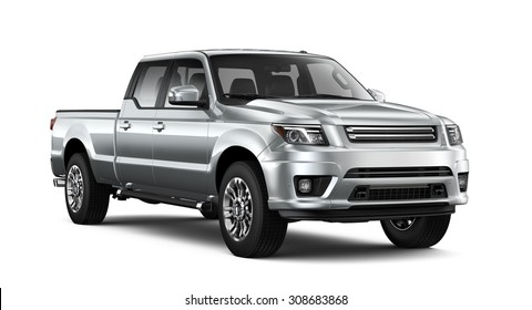 Silver pickup car - 3D render on white