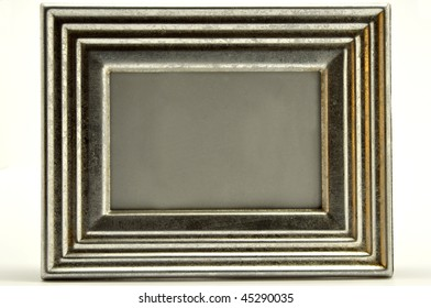 a silver picture frame isolated on a white background
