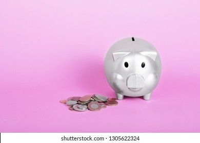 Silver piggy bank and coins on pink background