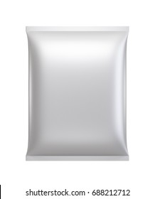 Silver Pillow Pack detergent blank on white background isolated, 3D Illustration and Rendering and die cut object Clipping Path by pen tool.