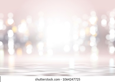 Silver pink bokeh background, glowing and shimmering wallpaper design in 3d illustration