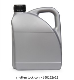 Silver plastic gallon, jerry can isolated on a white background