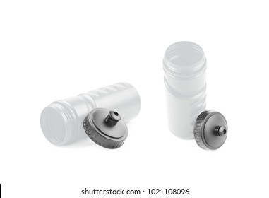 Silver plastic sport water bottle isolated over the white background, set of two different foreshortenings