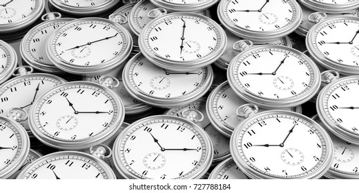 Silver pocket watches background. 3d illustration