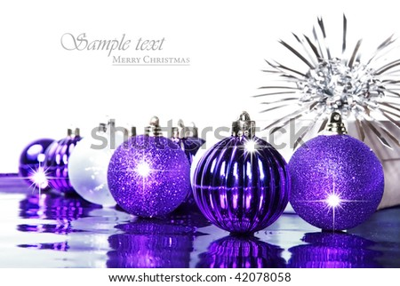 silver and purple christmas decorations with space for text - Purple Christmas Decorations