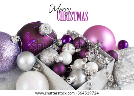 silver and purple christmas ornaments border on white background - Purple And Silver Christmas Decorations