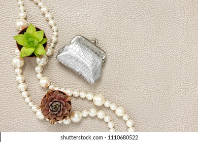 Silver purse, pearl necklace and succulent plants. Beauty and fashion composition with copy space.
