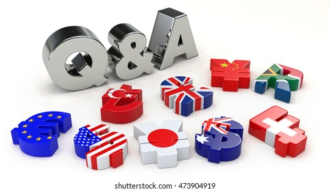Silver Q&A and currency symbol. 3D illustration
