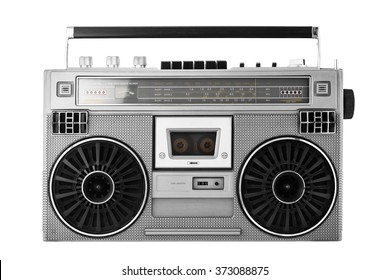 Silver retro ghetto blaster or audio boombox isolated  with clipping path