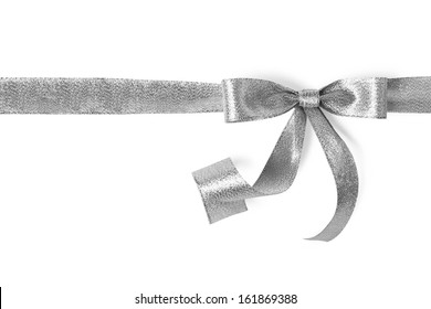 Silver ribbon with bow on white
