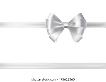 silver ribbon bow on white. raster decorative design elements