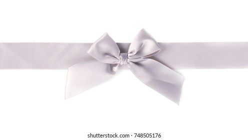 Silver ribbon pearl satin stripe band fabric bow isolated on white background