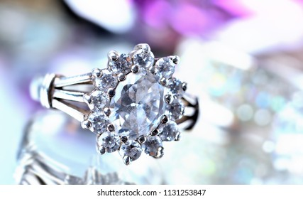 Silver ring with diamonds - jewelery, cold color balance