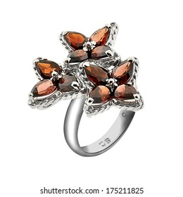 silver ring with gemstones