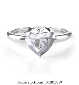 silver ring with heart shaped diamond