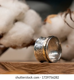 silver ring with patterns, decoration