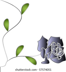 Silver Rose with stem and leaves illustration