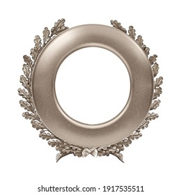 Silver round frame for paintings, mirrors or photo isolated on white background. Design element with clipping path