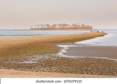 Silver Sand Beach at Sunset, Milford, Connecticut, USA. Silver Sands State Park is a public recreation area located on Long Island Sound in the city of Milford, Connecticut.