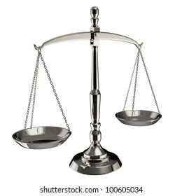 Silver scales of justice isolated on white background with clipping path.